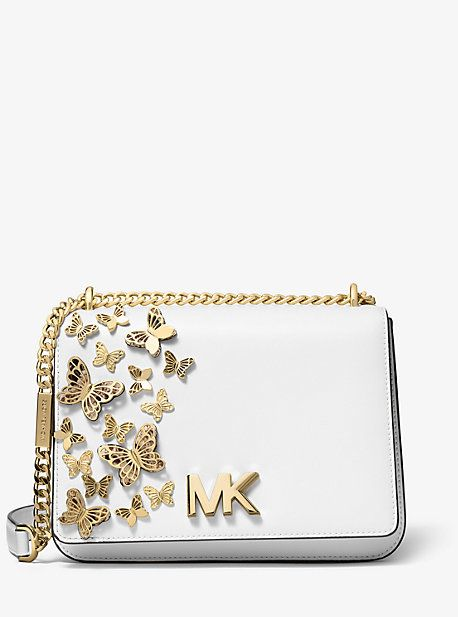 Michael Kors Mott Large Butterfly Embellished Leather Crossbody Leather Crossbody Michael Kors Crossbody Bag Leather Crossbody Bag
