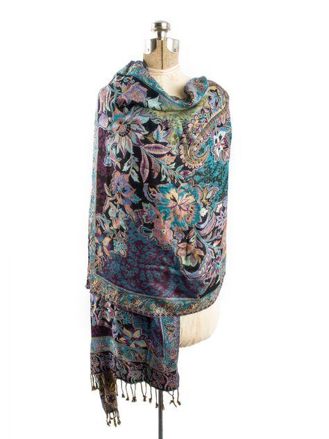 Bethshaya Reversible Cashmere Silk Pashmina Scarf, hand made in India