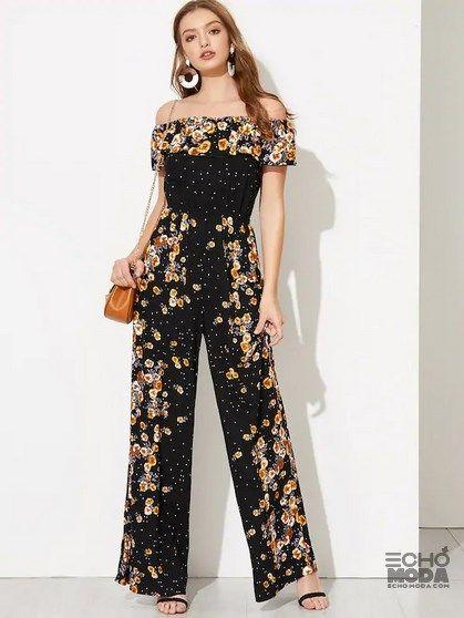 للبيع أحدث 20 موديل جمبسوت أسود للسهرات 2020 ايكو موضة Jumpsuit Summer Floral Jumpsuit Floral Jumpsuit