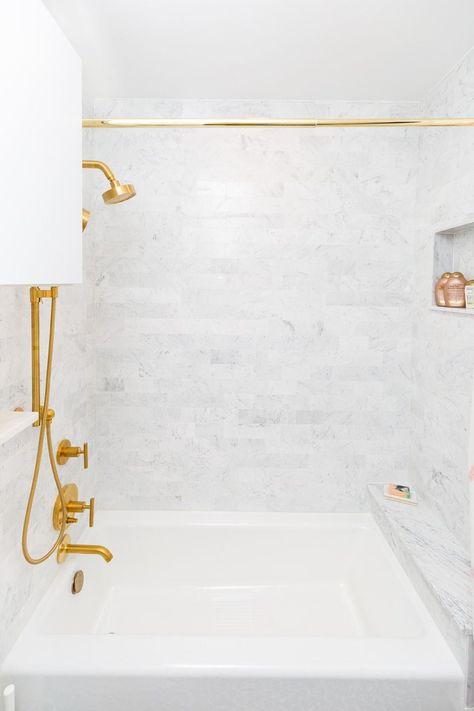 Basics 76 Adjustable Straight Tension Shower Curtain Rod Shower