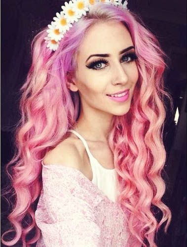 Blue Hair Dyed Hairstyles Pink
