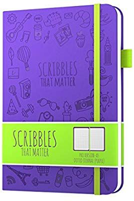 Premium Thick Paper Elastic Band Dotted Journal Notebook Diary A5 Scribbles That Matter Beautiful Designer Cover Purple