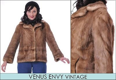 Vintage Genuine Natural Blonde Caramel Mink Fur Jacket Coat Satin Lined S M