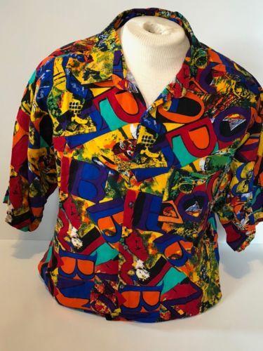 Vintage Bold Shirt 80s women baroque print blouse art nouveau printed colorful shirt patterned long sleeve shirt ladies clothing size large