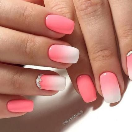 Nails Ombre White Simple 55 Ideas For 2019 Ombre Acrylic Nails Pink Nails Cute Nails