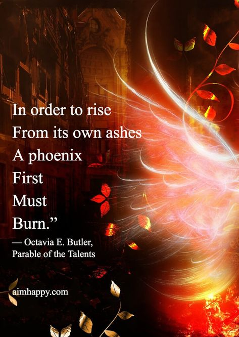 "When our world comes crashing down and we come crashing down with it, we have a chance that others don't have: we can only rise if we've fallen; we can only be reborn if we've known what it feels like to die inside. This is the story of the Phoenix, and why I'm sharing these Phoenix quotes today. Your story can be called ""Resilience,"" or ""Hope,"" or even ""Freedom."""