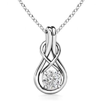 Angara Round Moissanite Solitaire Infinity Knot Pendant 02Oted
