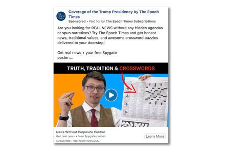 New From The New York Times Facebook Bans Ads From The Epoch Times by DAVEY ALBA The social network has struggled to implement a consistent political advertising policy as groups appear able to get around its transparency rules.