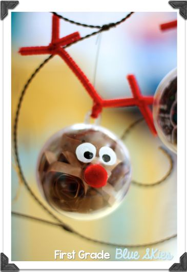 Christmas Crafts in the Classroom: Reindeer Ornaments - First Grade Blue Skies