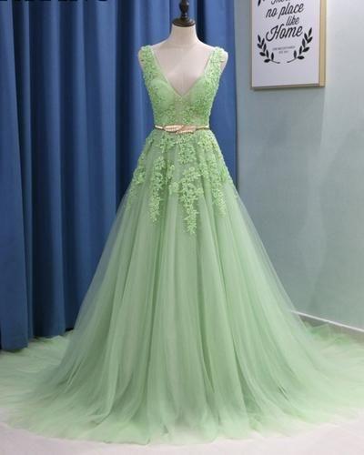 V Neck Light Green A Line Prom Dresses Fancy Dresses Prom Dress Prom Dresses Long Prom Dress In 2020 Light Green Dress Fancy Dresses Stunning Prom Dresses
