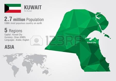 Kuwait Asia Mapa Con Un Modelo Del Diamante Pixel Mapas Asia