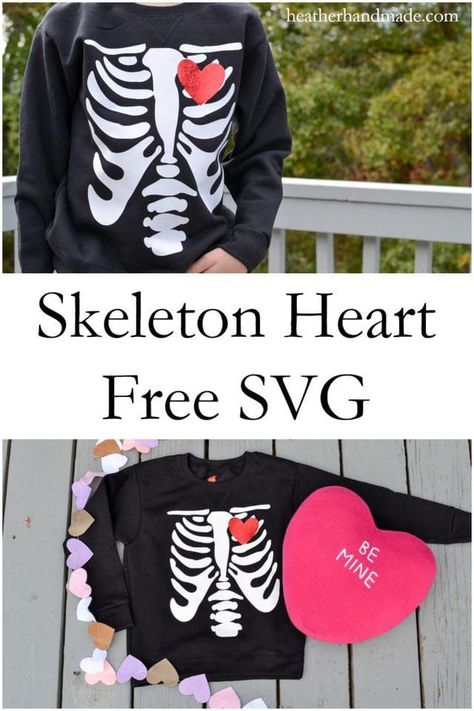 Make a fun Valentine tee shirt that's perfect for boys! It would also work for Halloween! Free Skeleton Heart SVG File // heatherhandmade.com #freesvg #freecutfile #valentinesday #valentinetee #boystee #boysvalentine