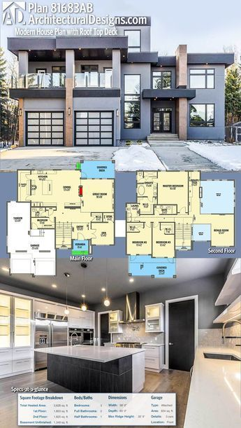 Plan 81683ab Modern House Plan With Roof Top Deck Modern House