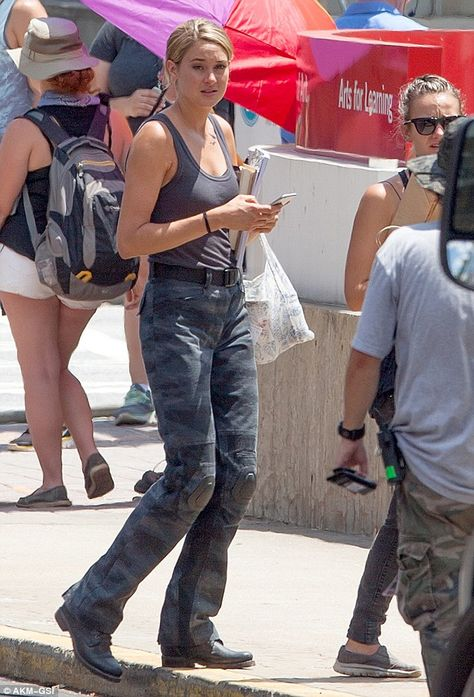 Action shot: Shailene Woodley, was pictured on the set as Tris, as she continued to shoot scenes for Allegiant - Part the next movie in the successful Divergent franchise, in Georgia on Monday