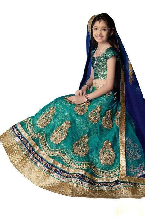 Girl's - Medium Sea Green Heavy Work - Lehenga / Half Saree - Gilr's Party And Wedding Collection Lehenga Set For Special Occasions - Semi Stitched, Blouse - Ready to Stitch