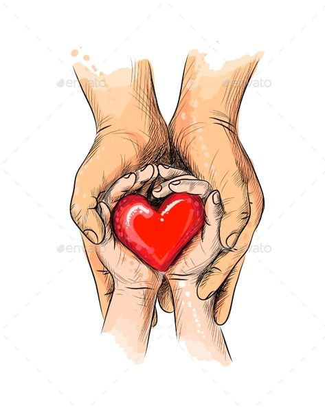 Adult and Child Hands Holding Red Heart #Hands, #Child, #Adult, #Heart