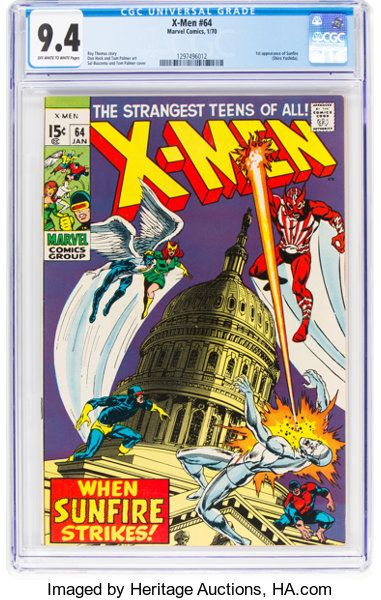 X Men 64 Marvel 1970 Cgc Nm 9 4 Off White To White Pages Lot 13956 Heritage Auctions X Men Marvel White Pages
