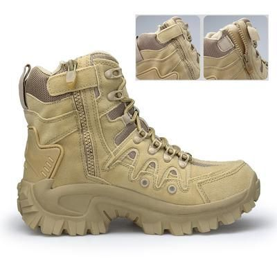 Earnest Autumn Winter Adult Teenagers Fashion Leather Outdoor Army Boots Mens Military Boot Casual Canvas Shoes Male Combat Sneaker Shoes