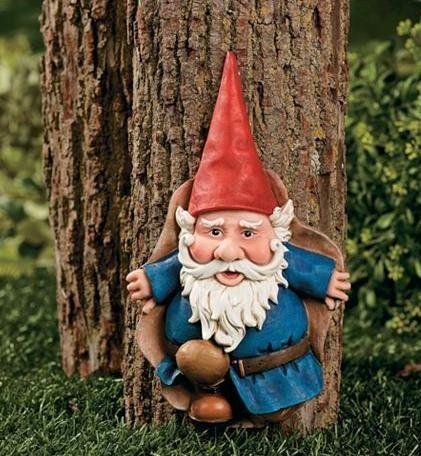 Tree Gnome Figurine Garden Outdoor Statue Plaque Lawn Yard Art Decor