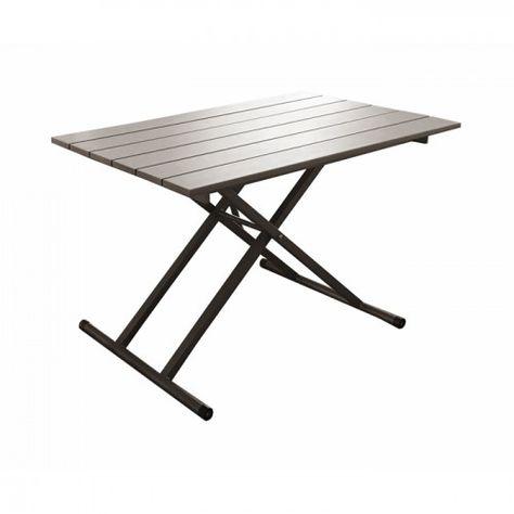 Table De Jardin Cafe Pump Relevable 120 Cm Table De Jardin Table Relevable Table Grise