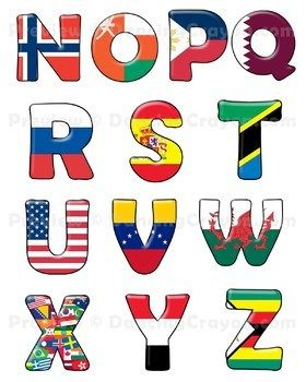 Flags Of The World Alphabet Letters Clip Art And Bulletin Board Set Flags Of The World Lettering Alphabet Alphabet Letters Clipart