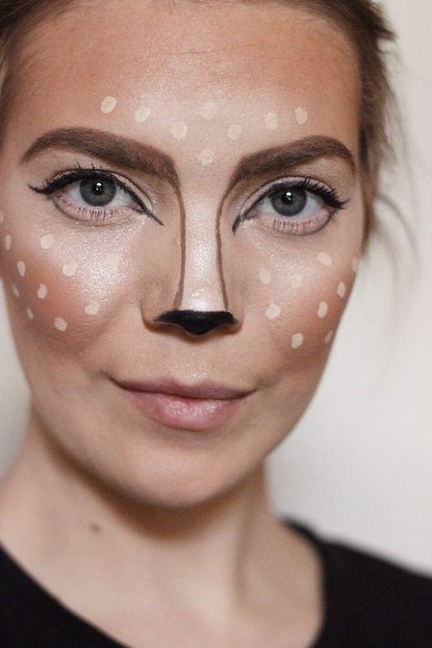 15 kreative DIY Halloween Make up Ideen - maquillaje Deer Halloween Makeup, Reindeer Makeup, Animal Halloween Costumes, Halloween Makeup Looks, Halloween Diy, Pirate Costumes, Diy Costumes, Couple Halloween, Deer Costume Diy