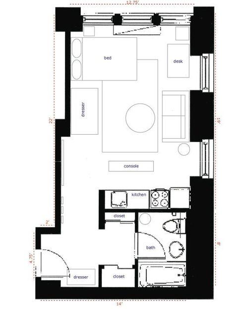 Nyc 350 Sqft Studio Apartment Layout