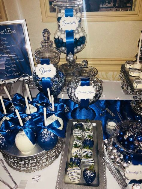 all white party Royal Blue, Silver and White Wedding Party Ideas White Party Decorations, Quince Decorations, Birthday Decorations, Blue Party Themes, Royal Blue Wedding Decorations, Idee Baby Shower, Cowboy Baby Shower, Blue Birthday Parties, Sweet 16 Birthday