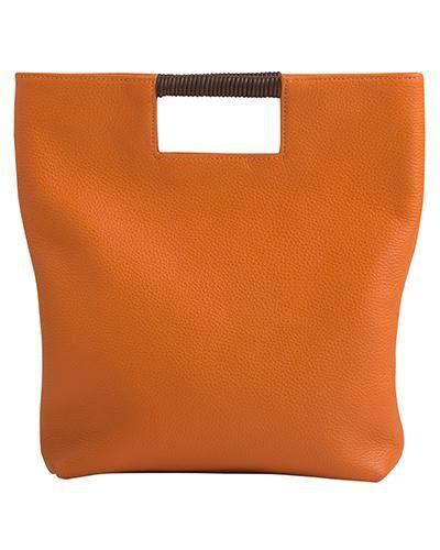 Oliveve Reid Wrap Handle Tote Papaya On Garmentory Tote Pebbled Leather Leather