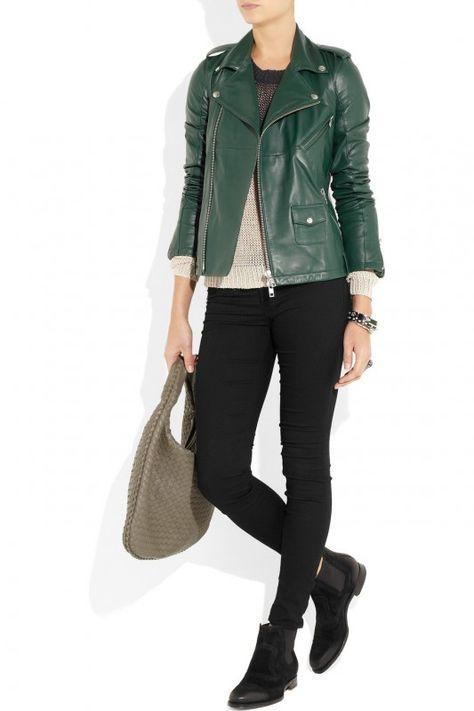 info pour 31346 c193f Comment porter une veste en cuir vert? | MOUNIA | Veste en ...