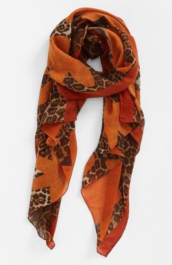 Love the orange with leopard print!  Tasha 'Leopard Flower' Scarf   Nordstrom