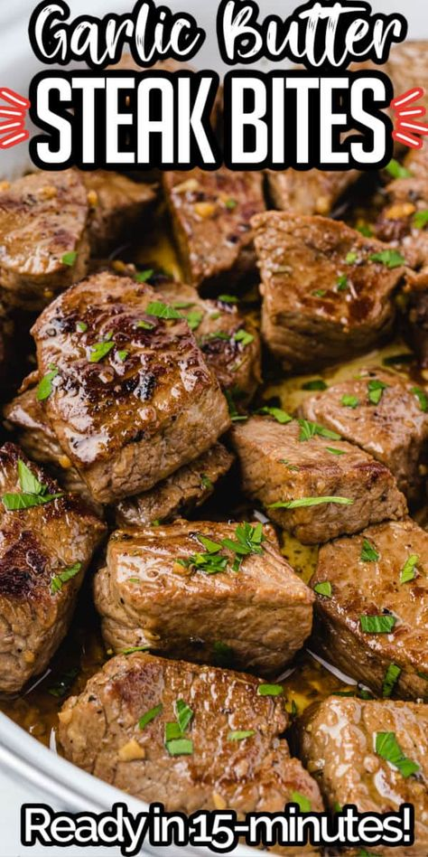 Sirloin steak bites seared to perfection and packed with juicy tender mouth-watering flavor. An easy dinner or appetizer and ready in just about 15 minutes!