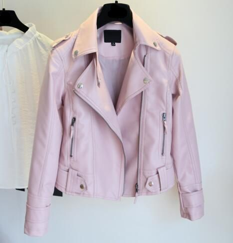 d4b56289f Womens Soft Faux Leather Motorcycle Coats Jacket in 2019 | Pink ...