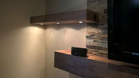Floating Shelves With Recessed Dimmer Lights