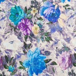 Kwiaty W Kolorze Fioletowym Niebieskim I Zoltym Liscie W Kolorze Niebieskim I Zielonym Tlo W Kolorze Fioletowym I Ecru Art Painting