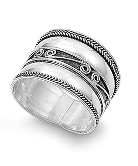 Criss Cross Infinity Knot Wide Ring New .925 Sterling Silver Band Sizes 6-12