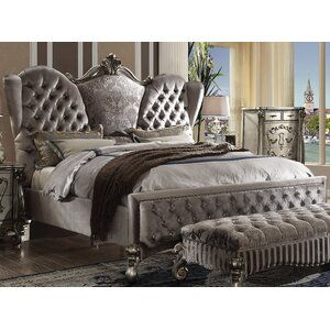 One Allium Way Valparaiso 5 Drawer Combo Dresser With Mirror Wayfair In 2020 Tufted Upholstered Bed Upholstered Platform Bed Upholstered Beds