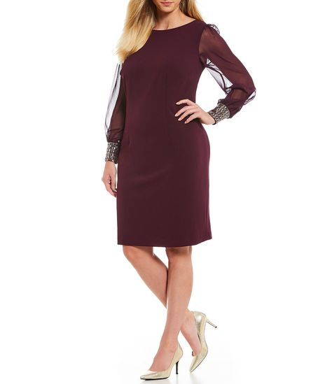 c95f789ad5c Calvin Klein Plus Size Long Chiffon Sleeve Embellished Cuff Dress  Dillards