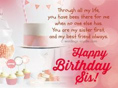 Happy birthday to my sister message happy birthday to my sister birthday wishes for sister and birthday card wordings for your sister m4hsunfo Images