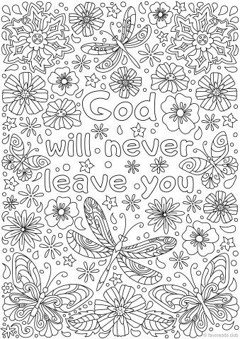 God Will Never Leave You Adult Coloring Pages Free Adult