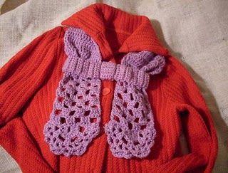 Bow 'N Lace Neckwarmer free #crochet pattern