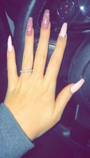 Nails Long Coffin Diamonds 42 Ideas Nails Unas De San Valentin Unas Arte De Unas