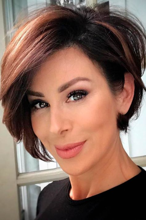 15 Classy Short Bob Hairstyles & Haircuts with Bangs - Modern Short Layered Haircuts, Haircuts With Bangs, Short Hairstyles For Women, Hairstyles Haircuts, Cool Hairstyles, Modern Haircuts, Short Thin Hair, Haircut For Thick Hair, Short Hair With Layers