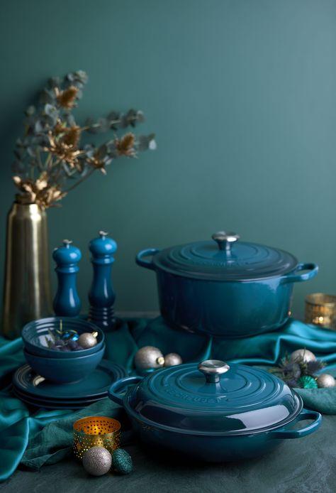 Teal Kitchen, Kitchen Colors, Master Chef, Le Creuset Colors, Blue Kitchen Accessories, Le Creuset Cookware, Best Pans, Fancy Kitchens, Home Comforts