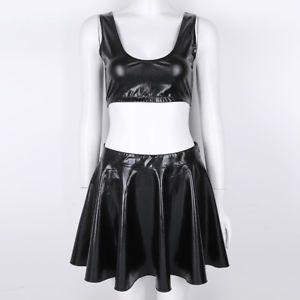 d5bbdecfca8486 2 Piece Women Liquid Wet Look Shiny Crop Tank Top Pleated Skirts Outfit  Clubwear