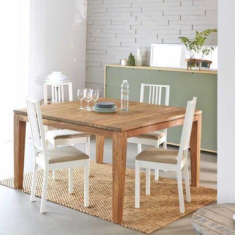 Table En Bois De Teck Recycle Avec Rallonges 10 A 12 Couverts Table Bois Bois De Teck Et Table Salle A Manger