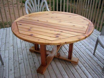 Round Patio Table Diy, Wooden Outdoor Tables