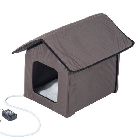 Pawhut Outdoor Heated Cat House Brown 21 In Walmart Com Outdoor Cat House Heated Cat House Cat House