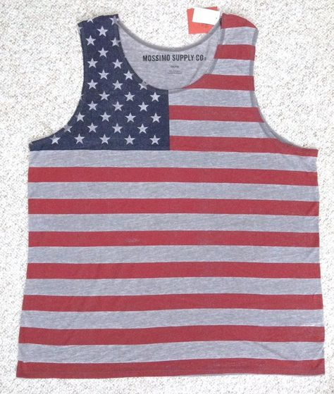 6b50d9ff NEW Men(2XL/XXL) AMERICAN FLAG TANK TOP Gray Red Navy Faded USA Stars And  Stripe #Mossimo #Tank