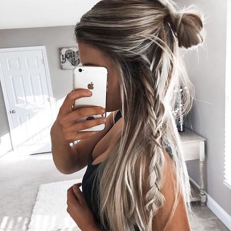 Half up hairstyle into a bun with a braid on one side - Simple yet stylish hairstyle you can create in less than 5 mins...x